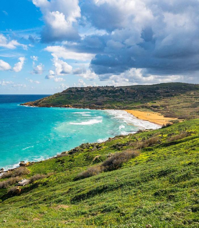 Morning view of irRamla lHamra beach in Gozo  Sundayhellip
