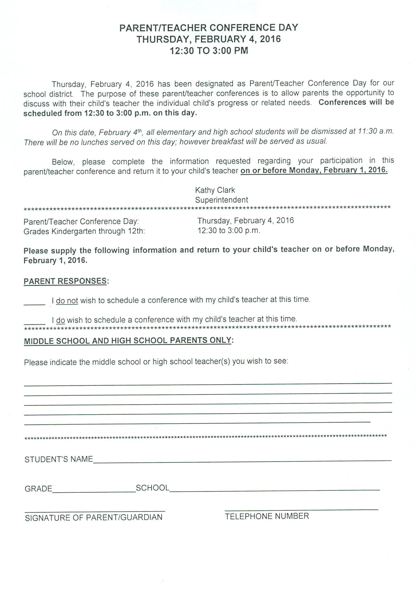 Our School Cont D Teacher Forms