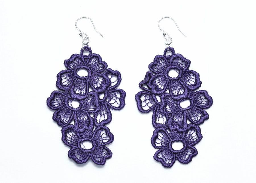 Lace Earring E11 Deep Purple