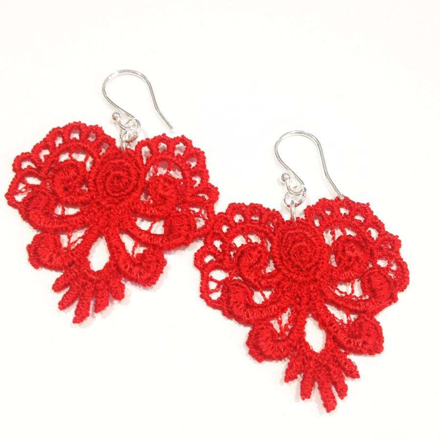 Red Lace Heart Earring