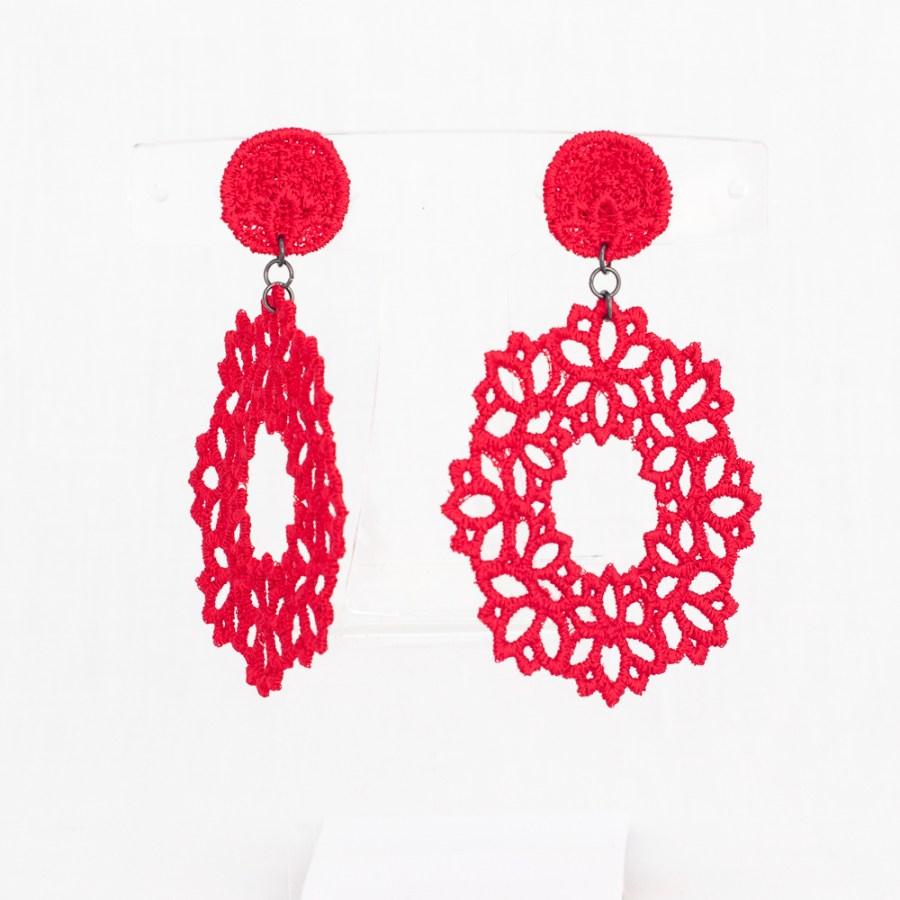 Red Lotus lace drop earrings