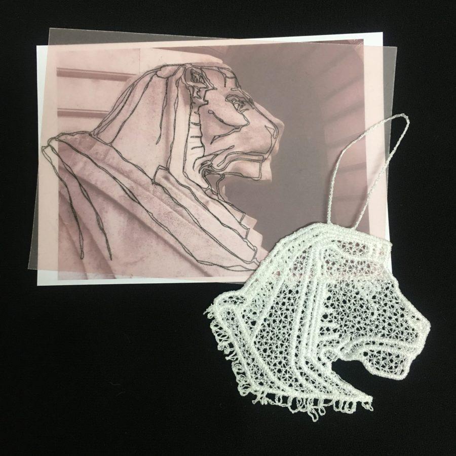 Left Lion lace ornament