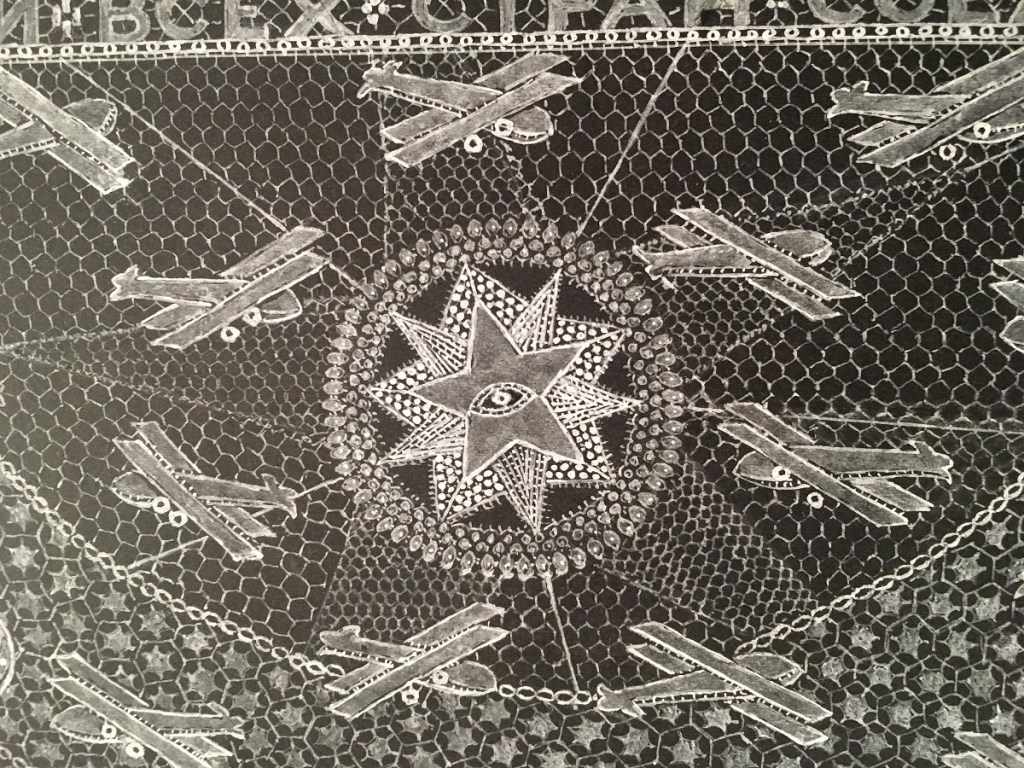 A detail of William Hallam Pegg lace design held in NTU Lace Archive