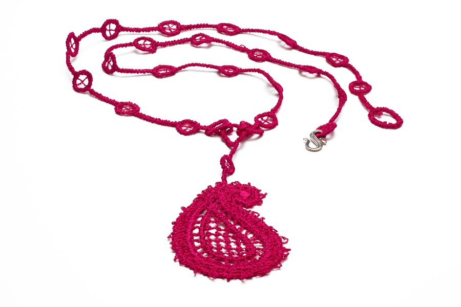 Paisley dangler necklace raspberry red