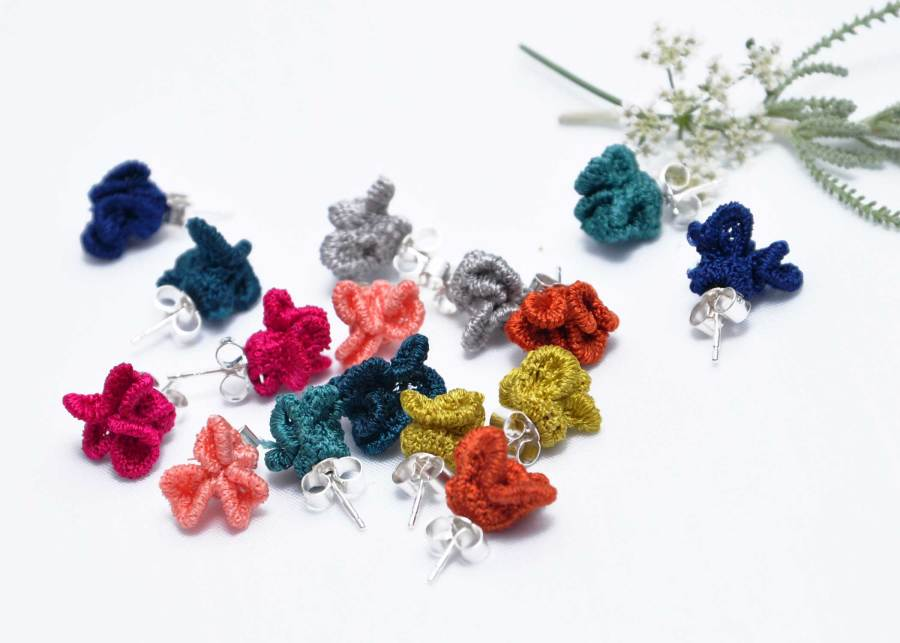 Tiny ruffled lace earrings collection