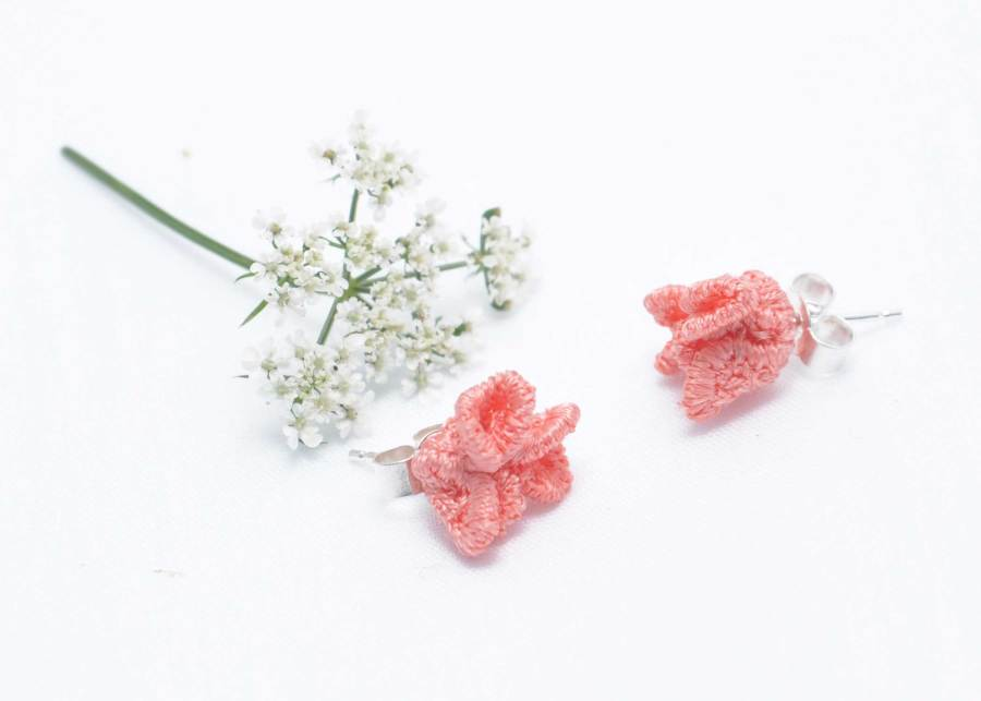 Tiny ruffled lace earrings in soft peach