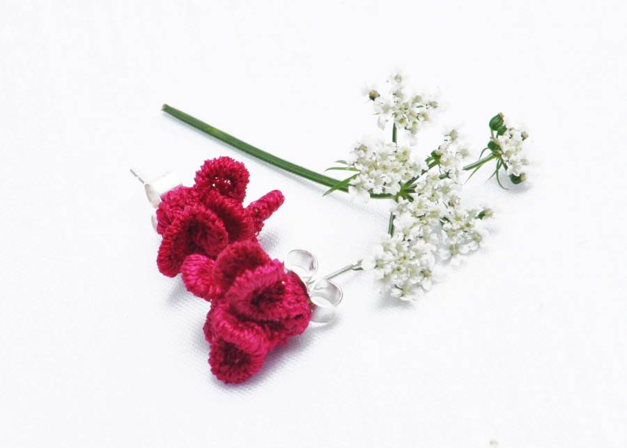 Tiny ruffled lace earrings in raspberry red