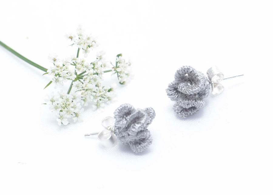 Tiny ruffled lace earrings in soft grey