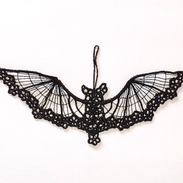Black lace bat ornament