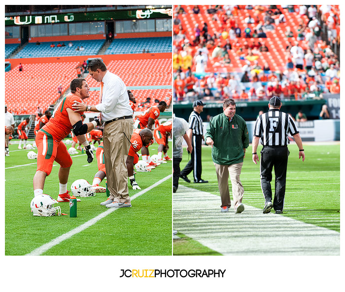 Miami Hurricanes Head Coach, Al Golden, greets #71, Anthony Chickillo, during warmups