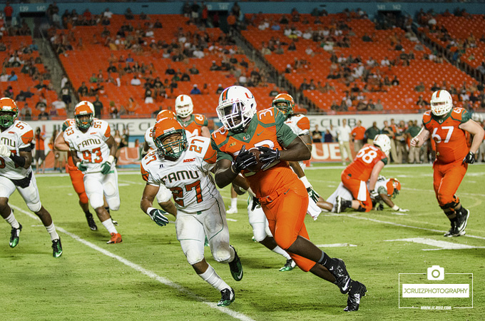 Trayone Gray rushes for a TD