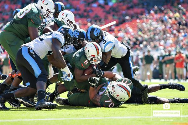 Duke Johnson is stopped short of the endzone