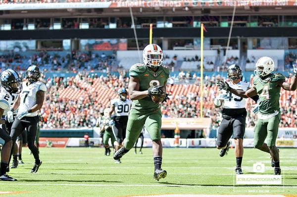 Duke Johnson scored a touchdown from a Brad Kaaya pass