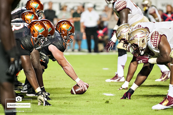 Miami Hurricanes offense lines up against the Florida State Seminoles defense