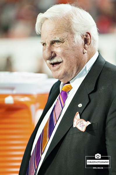 Former Miami Hurricanes Head Coach, Howard Schnellenberger, makes a pre-game appearance