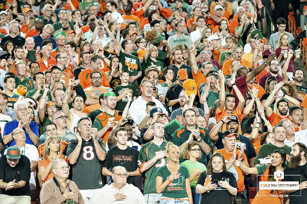 Miami Hurricanes fans show their support for the National Anthem