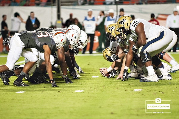 Teams line up in the trenches