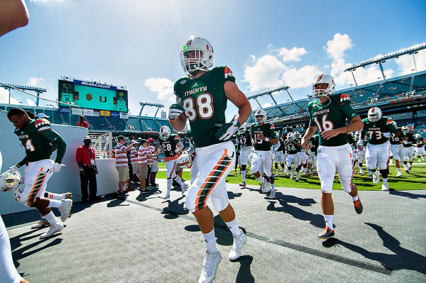 Miami Hurricanes tight end #88, Jake O' Donnell, heads back to the locker room