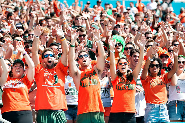 The Miami Hurricanes student section gets ready for kickoff