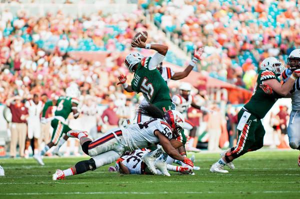 Virginia Tech defense sacks Miami Hurricanes QB #15, Brad Kaaya