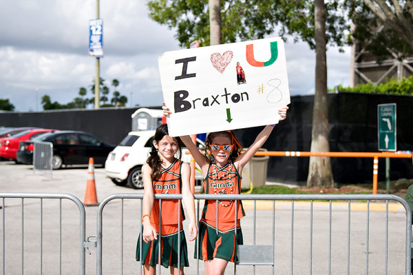 A young fan shows her love for Braxton Berrios