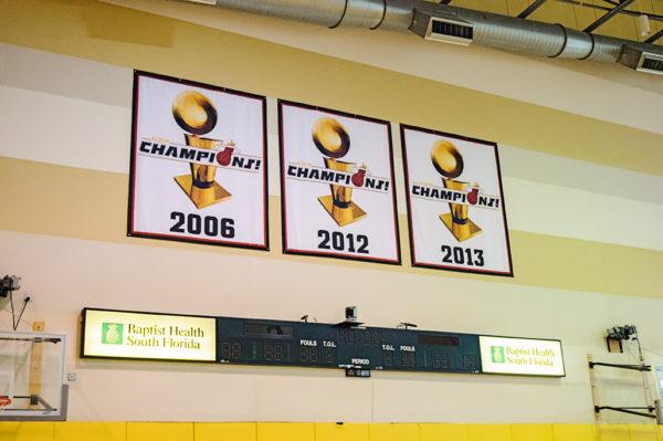 Miami Heat NBA Championship banners