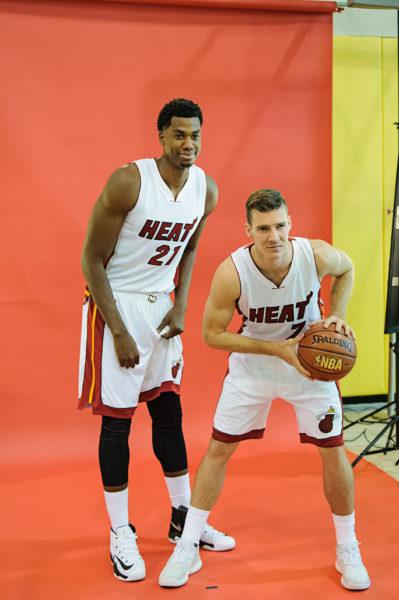 Hassan Whiteside and Goran Dragic pose together