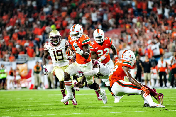 Hurricanes WR, Stacy Coley, runs after a pass from Brad Kaaya