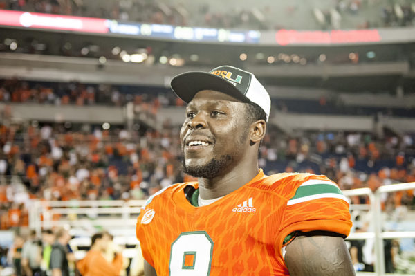 Chad Thomas is all smiles after the Hurricanes win