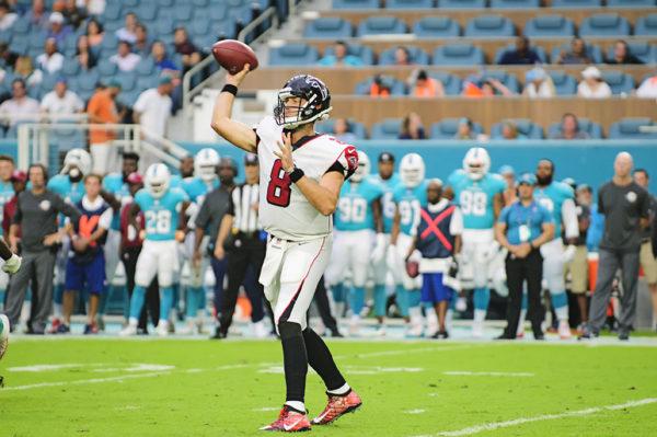 Falcons QB, #8 Matt Schaub, attemps a pass against the Dolphins