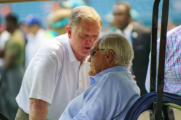 Former Dolphin greats, Bob Griese and Don Shula, talk prior to the Dolphins vs. Titans game