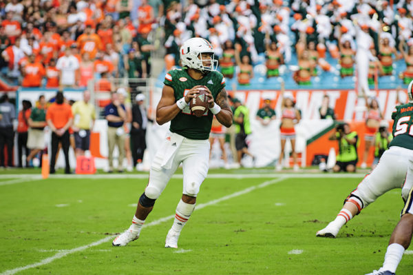 Malik Rosier looks down field for an open receiver