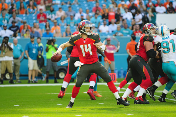 Ryan Fitzpatrick (14) looks to pass
