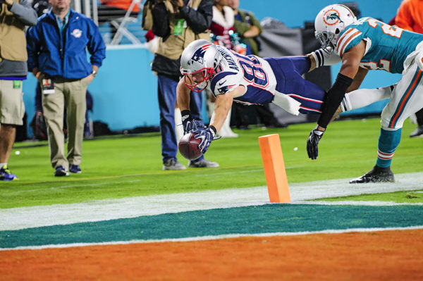Danny Amendola (80) tries to extend for a touchdown