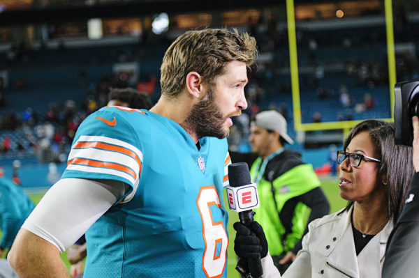 Jay Cutler gives an interview to ESPN after the game