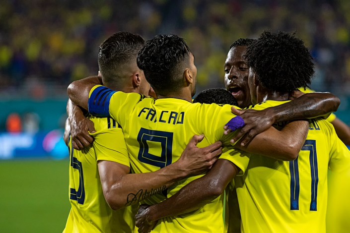 Colombia National Team celebrates Falcao's goal