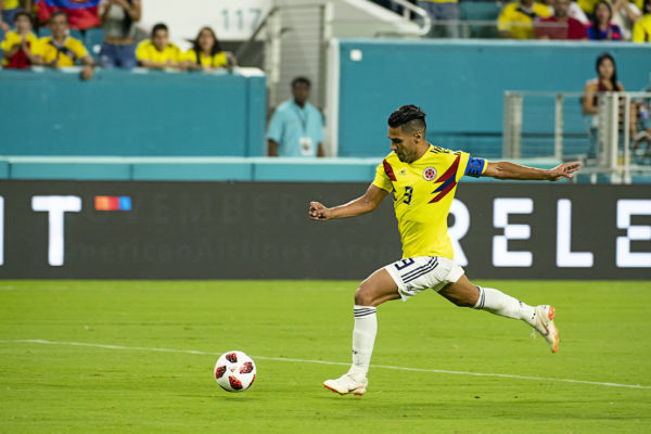 Falcao advances the ball against Venezuela