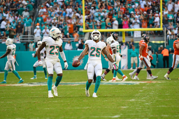 Miami Dolphins cornerback Xavien Howard (25) celebrates a fumble recovery