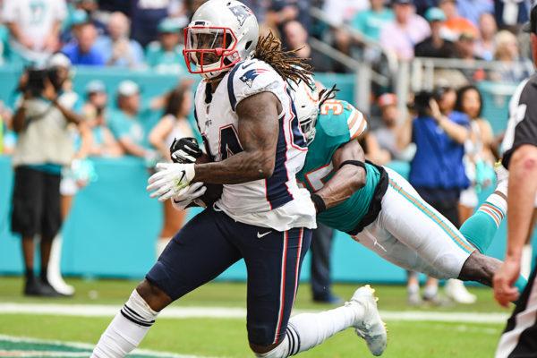 New England Patriots wide receiver Cordarrelle Patterson (84) scores