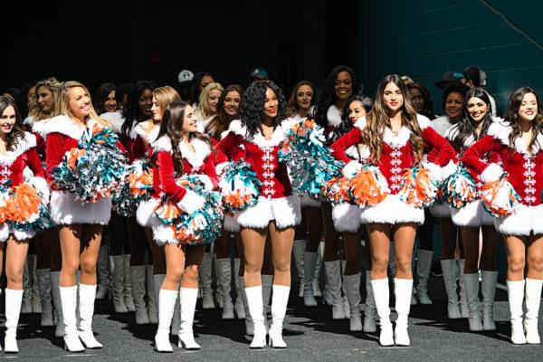 Miami Dolphins cheerleaders looking festive
