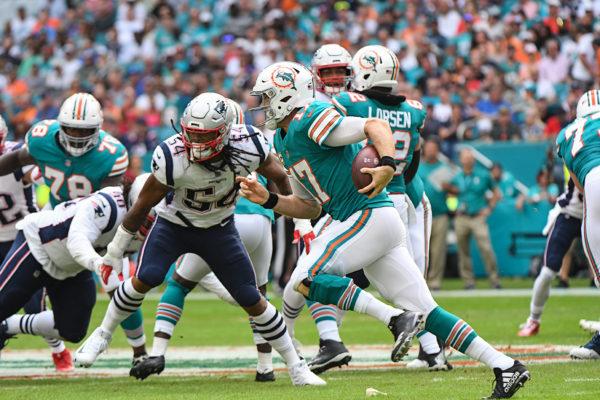 Miami Dolphins quarterback Ryan Tannehill (17) runs a quarterback draw
