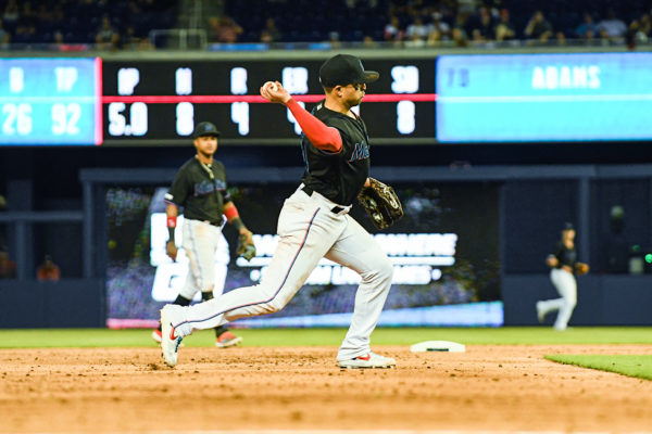 Miami Marlins third baseman Martin Prado #14 makes a throw to 1st