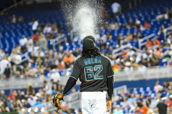 Miami Marlins starting pitcher Jose Urena #62