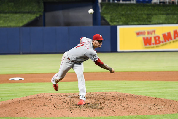 Philadelphia Phillies starting pitcher Vince Velasquez (21)