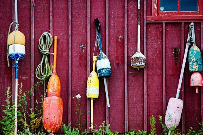 Buoys along the wall