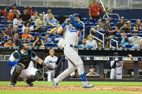 LA Dodgers first baseman Matt Beaty (45) hits a homerun