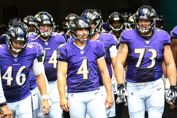 Baltimore Ravens wait to run onto the field | Baltimore Ravens vs. Miami Dolphins | September 8, 2019 | Hard Rock Stadium