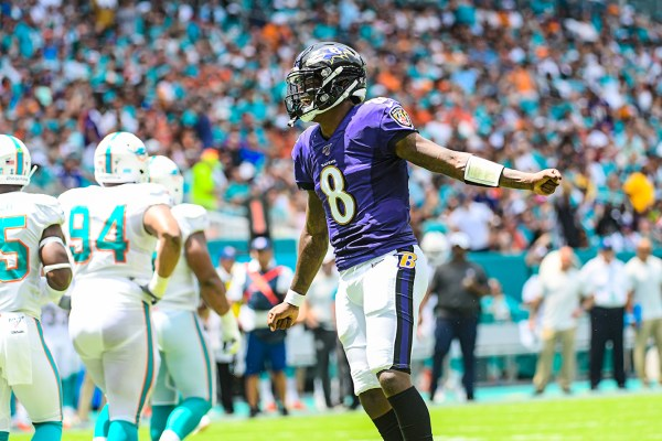 Baltimore Ravens quarterback Lamar Jackson (8) celebrates a touchdown | Baltimore Ravens vs. Miami Dolphins | September 8, 2019 | Hard Rock Stadium