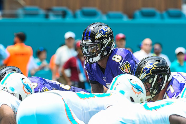Baltimore Ravens quarterback Lamar Jackson (8) | Baltimore Ravens vs. Miami Dolphins | September 8, 2019 | Hard Rock Stadium