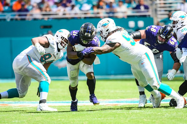 Baltimore Ravens running back Mark Ingram (21) | Baltimore Ravens vs. Miami Dolphins | September 8, 2019 | Hard Rock Stadium